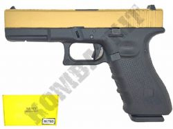 R17SD BB Gun Glock G17 Gen 4 Replica Gas Blowback Airsoft Pistol 2 Tone Gold Black